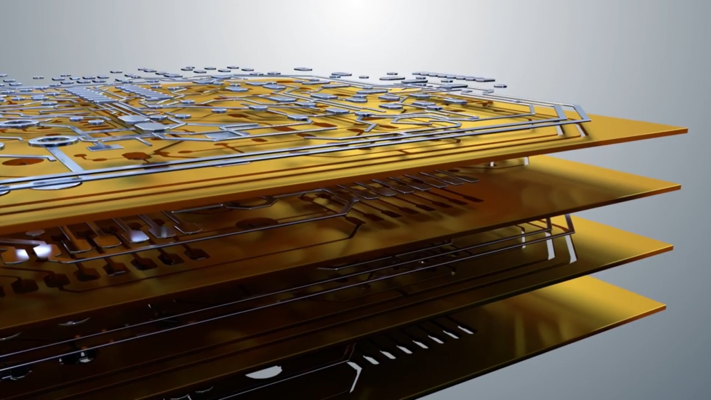 layers of a 3D printed circuit board