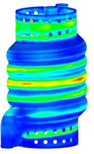 ANSYS Additive Print Simulation shows displacement for a heat exchanger part