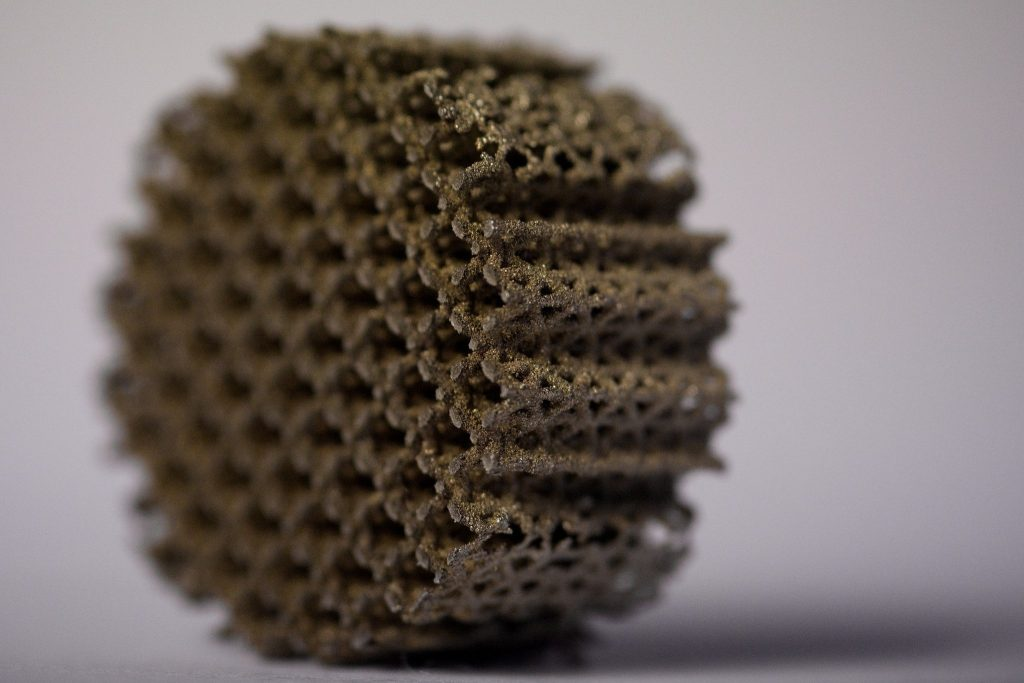 Metal 3D-printed part srcset=