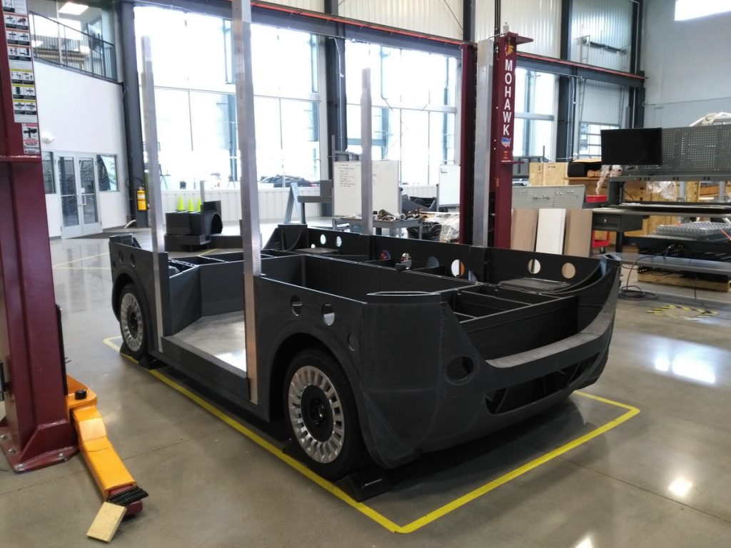 The bottom half of the 3D-printed autonomous vehicle, Olli
