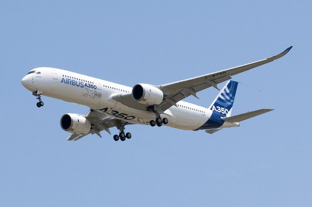 Airbus A350 flight 3D printing in aerospace