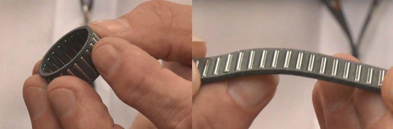 Dieses Bild zeigt einen Nadelrollenlagerkäfig, der aus einem flexiblen Material in 3D gedruckt und flach gefaltet werden kann, um den Montagevorgang zu vereinfachen. [Bildnachweis: Bowman Additive Production]