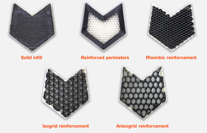 Anisoprint CFC technology can 3D print parts with varying infill density